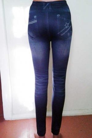 Леггинсы с рваным и потертым джинсовым дизайном F