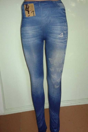 Леггинсы с рваным и потертым джинсовым дизайном D1