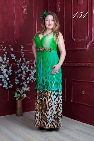 Длинное платье в пол зеленое