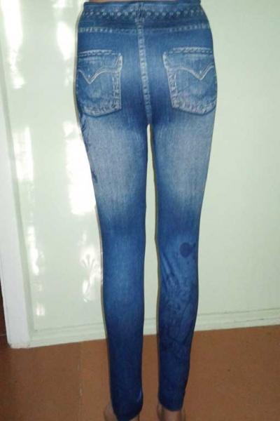 Леггинсы с рваным и потертым джинсовым дизайном H