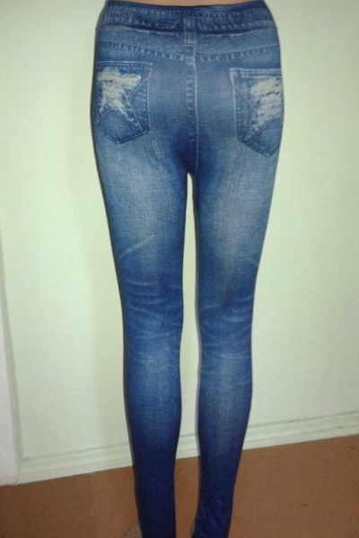 Леггинсы с рваным и потертым джинсовым дизайном N