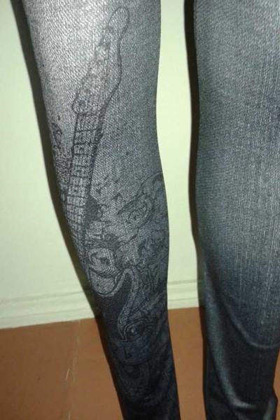 Леггинсы с рваным и потертым джинсовым дизайном G