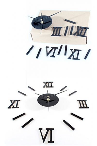 Настенные часы - стикеры римские цифры с 3D-эффектом
