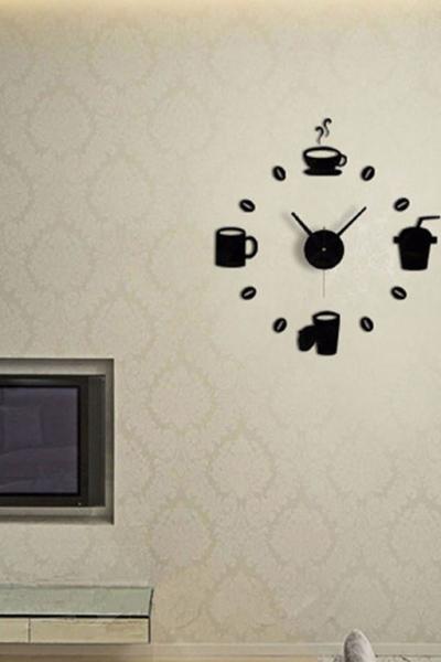 Настенные часы - стикеры с 3D-эффектом (кофе)