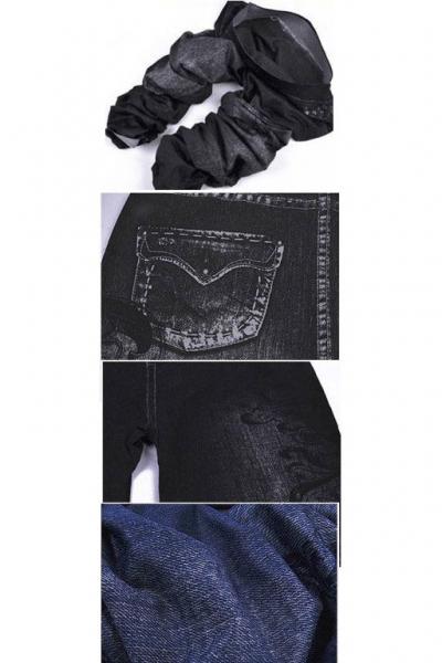 Леггинсы с деним дизайном Note черные